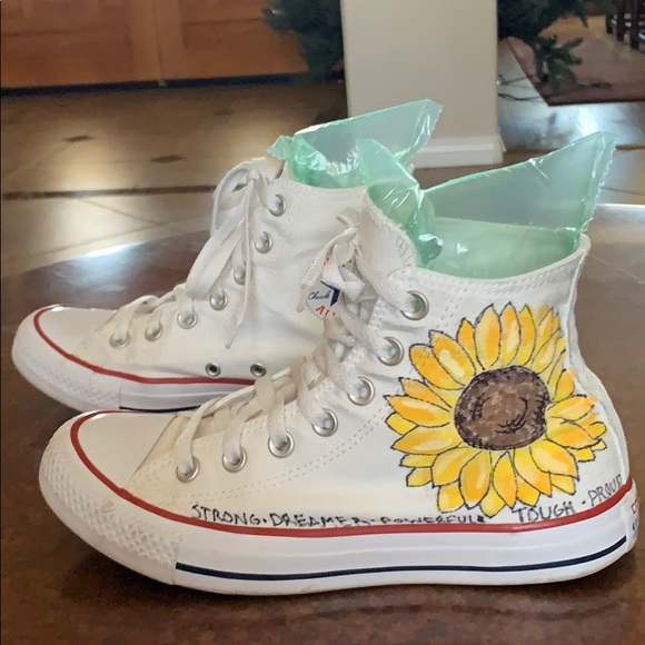 Converse Shoes | Hand Painted Sunflower